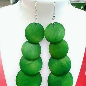 Green long wooden dangle earrings
